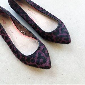 GAP Purple Leopard Calf Hair Leather Ballet Flats
